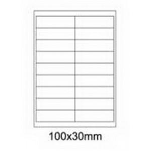 Etykiety uniwersalne samoprzylepne białe A4 Emerson o wymiarach 100mm x 30mm - 18 etykiet na arkuszu - 100 arkuszy w opakowaniu