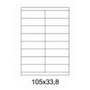 Etykiety uniwersalne samoprzylepne białe A4 Emerson o wymiarach 105mm x 33.8mm - 16 etykiet na arkuszu - 100 arkuszy w opakowaniu