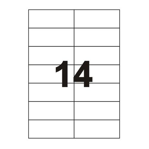 Etykiety uniwersalne samoprzylepne białe A4 Emerson o wymiarach 105mm x 42.4mm - 14 etykiet na arkuszu - 100 arkuszy w opakowaniu