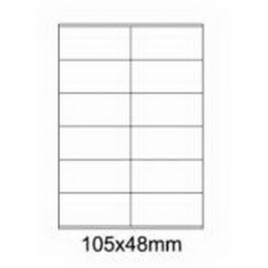 Etykiety uniwersalne samoprzylepne białe A4 Emerson o wymiarach 105mm x 48mm - 12 etykiet na arkuszu - 100 arkuszy w opakowaniu