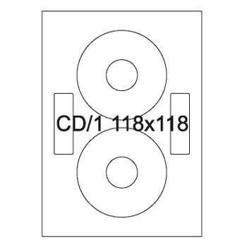 Etykiety uniwersalne na CD / DVD samoprzylepne białe A4 Emerson o wymiarach 118mm x 118mm - 2+2 etykiety na arkuszu - 100 arkuszy w opakowaniu