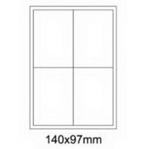Etykiety uniwersalne samoprzylepne białe A4 Emerson o wymiarach 140mm x 97mm - 4 etykiety na arkuszu - 100 arkuszy w opakowaniu