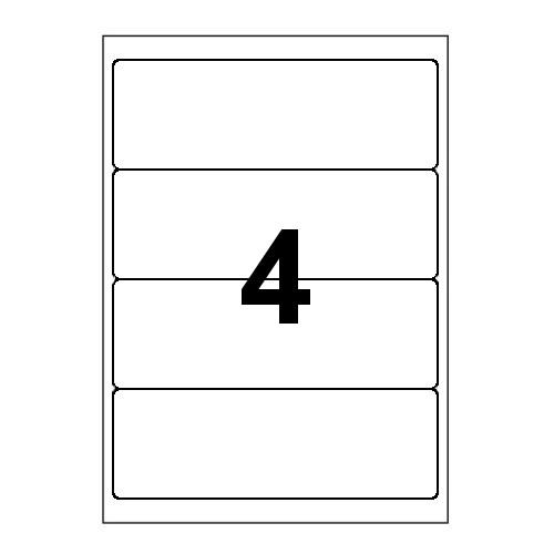 Etykiety uniwersalne samoprzylepne białe z zaokrąglonymi narożnikami A4 Emerson o wymiarach - 190mm x 61mm - 4 etykiety na arkuszu - 100 arkuszy w opakowaniu