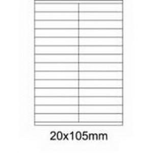 Etykiety uniwersalne samoprzylepne białe A4 Emerson o wymiarach 20mm x 105mm - 28 etykiet na arkuszu - 100 arkuszy w opakowaniu