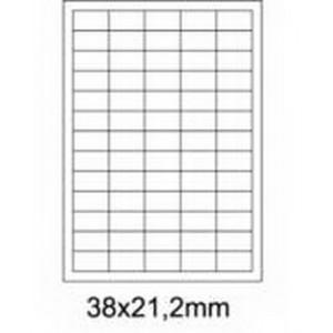 Etykiety uniwersalne samoprzylepne białe A4 Emerson o wymiarach 38mm x 21.2mm - 65 etykiet na arkuszu - 100 arkuszy w opakowaniu