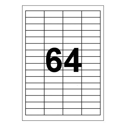 Etykiety uniwersalne samoprzylepne białe A4 Emerson Art.001 o wymiarach 48.5mm x 16.9mm - 64 etykiety na arkuszu - 100 arkuszy w opakowaniu