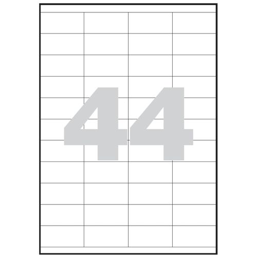 Etykiety uniwersalne samoprzylepne białe A4 Emerson o wymiarach 52.5mm x 25.4mm - 44 etykiety na arkuszu - 100 arkuszy w opakowaniu