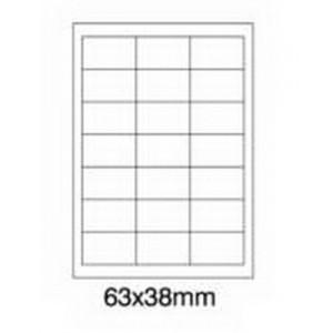 Etykiety uniwersalne samoprzylepne białe A4 Emerson o wymiarach 63mm x 38mm - 21 etykiet na arkuszu - 100 arkuszy w opakowaniu