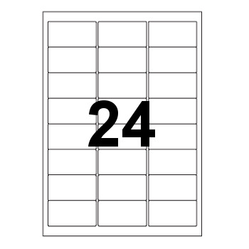 Etykiety uniwersalne samoprzylepne białe z zaokrąglonymi narożnikami A4 Emerson o wymiarach 64mm x 33.8mm - 24 etykiety na arkuszu - 100 arkuszy w opakowaniu
