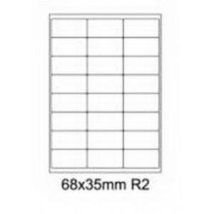 Etykiety uniwersalne samoprzylepne białe z zaokrąglonymi narożnikami A4 Emerson o wymiarach 68mm x 35mm - 24 etykiety na arkuszu - 100 arkuszy w opakowaniu