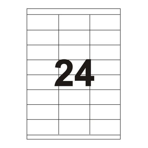 Etykiety uniwersalne samoprzylepne białe A4 Emerson o wymiarach 70mm x 33.8mm - 24 etykiety na arkuszu - 100 arkuszy w opakowaniu