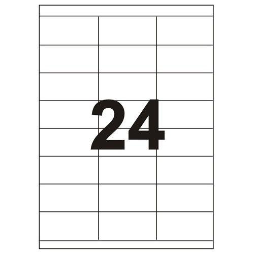 Etykiety uniwersalne samoprzylepne białe A4 Emerson o wymiarach 70mm x 36mm - 24 etykiety na arkuszu - 100 arkuszy w opakowaniu