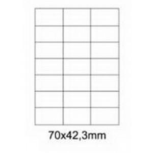 Etykiety uniwersalne samoprzylepne białe A4 Emerson o wymiarach 70mm x 42.3mm - 21 etykiet na arkuszu - 100 arkuszy w opakowaniu